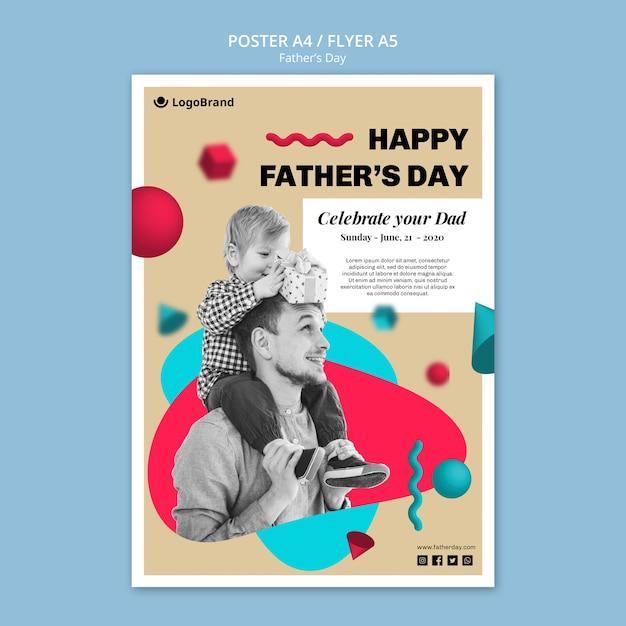 아빠 아버지의 날 포스터 템플릿 축하 무료 PSD 파일