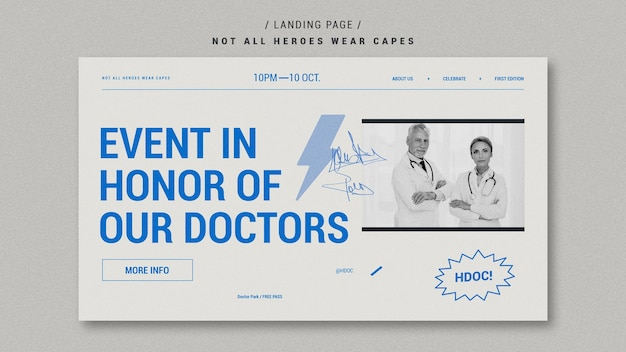Празднование врачами дизайна целевой страницы Бесплатные Psd
