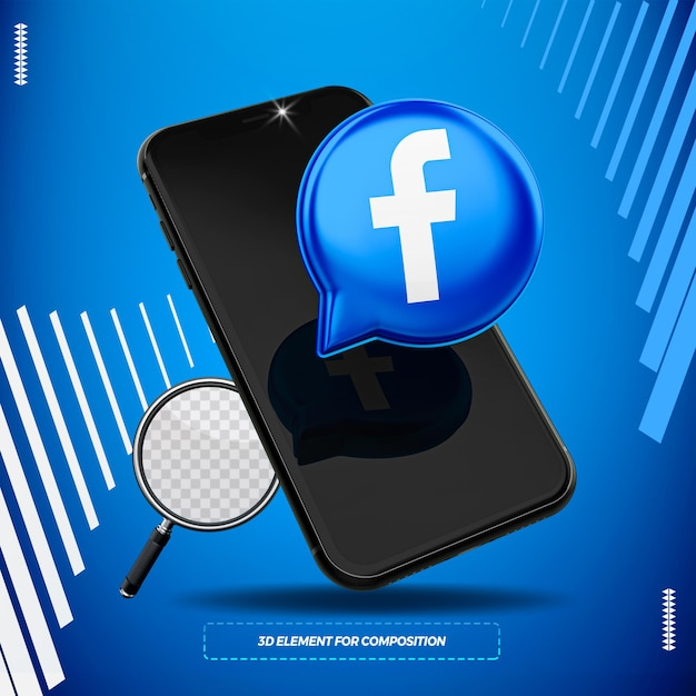 Cellphone with 3d facebook icon isolated for composition Premium Psd