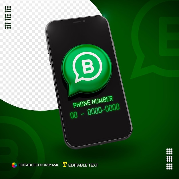 Cellphone with 3d whatsapp business icon isolated for composition Premium Psd