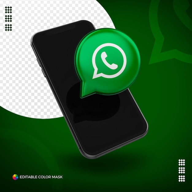 Cellphone with 3d whatsapp icon isolated for composition Premium Psd