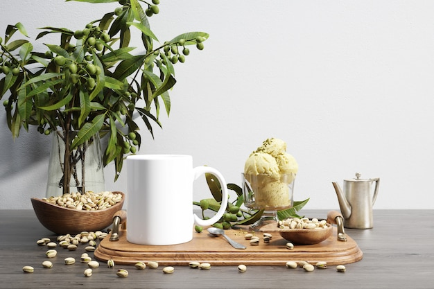 Ceramic bug and nuts bowl on wooden tray and plant Free Psd