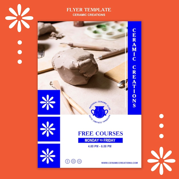 Ceramic creations ad poster template Free Psd