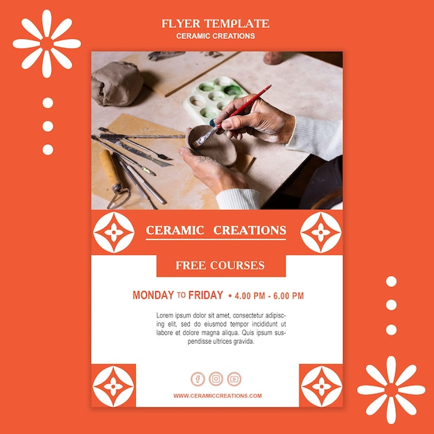 Ceramic creations poster template Free Psd