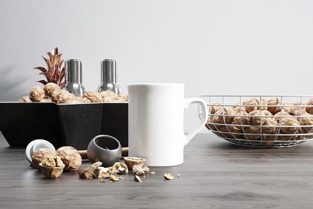 Ceramic mug with raw nuts and bowls Free Psd