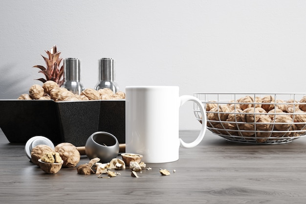 Ceramic mug with raw nuts and bowls Free Psd