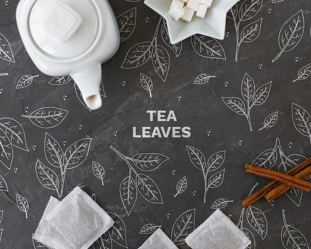 Ceramic tea pot with tea bags Free Psd