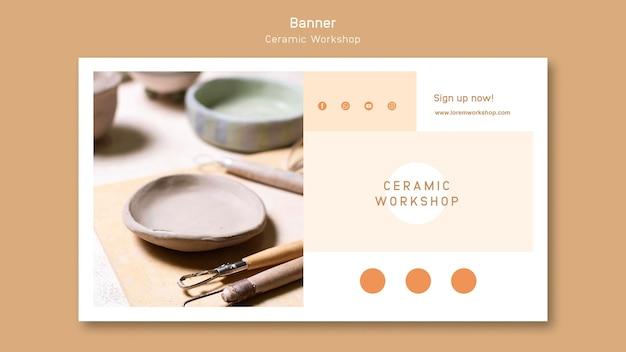 Ceramic workshop banner design Free Psd