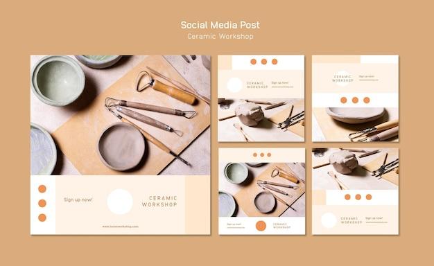 세라믹 워크샵 소셜 미디어 게시물 무료 PSD 파일
