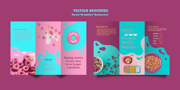 Cereal breakfast restaurant brochure Free Psd