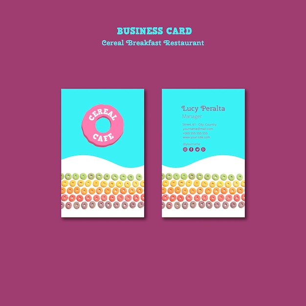 Cereal breakfast restaurant business card Free Psd