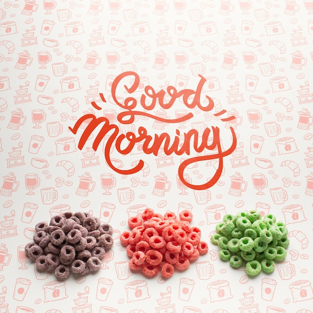 Cereals in stack and good morning message Free Psd