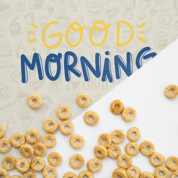 Cereals with good morning message Free Psd