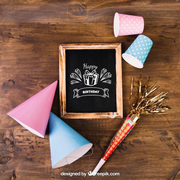 Chalkboard Mockup With Birthday Design PSD File