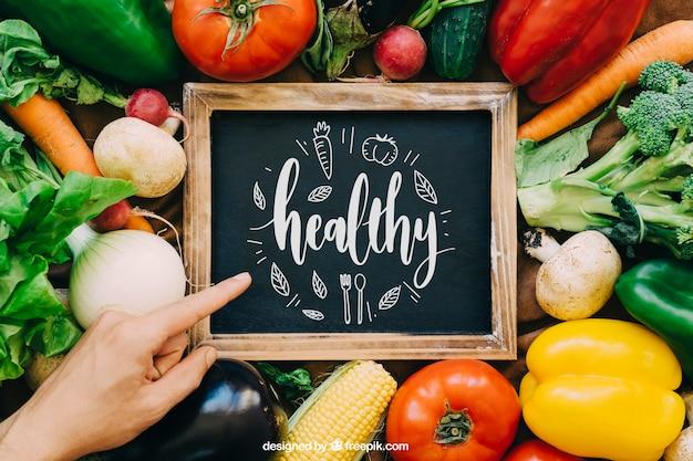 chalkboard mockup with vegetable designs psd file free download