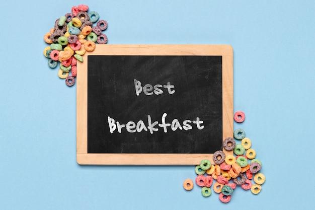 Chalkboard with best breakfast message Free Psd