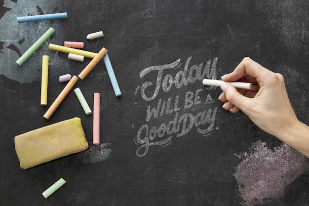 Chalkboard with quote Free Psd