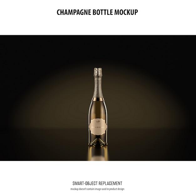 Champagne bottle mockup Free Psd