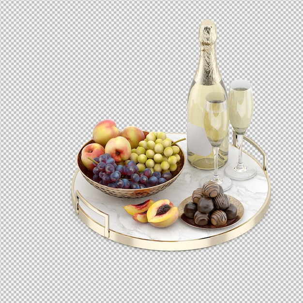 Champagne with fruits and candy Premium Psd