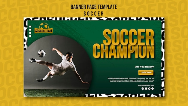 Champion school of soccer banner template Free Psd