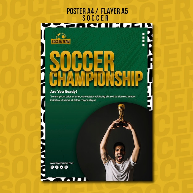 Championship school of soccer poster template Free Psd