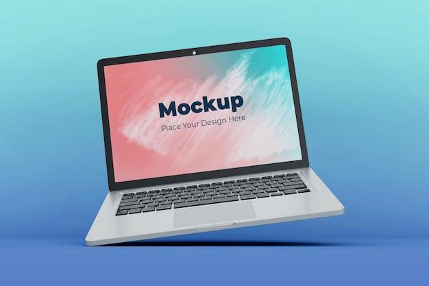 変更可能なフローティングラップトップ画面のモックアップデザインテンプレート Premium Psd