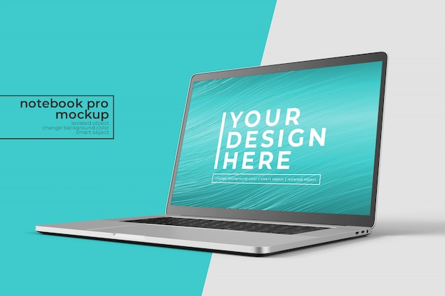 Changeable high quality easy  15 inch notebook pro for web, ui and apps photoshop mockup   in eye front right view Premium Psd