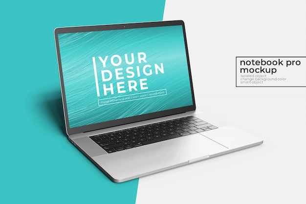 Сменный, очень реалистичный премиум 15-дюймовый ноутбук pro photoshop, макет спереди слева, вид с фоном Premium Psd