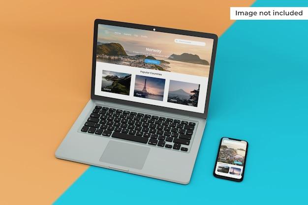 変更可能なモバイルインターフェイスとラップトップ画面のモックアップ Premium Psd