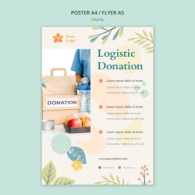Charity flyer template theme Free Psd