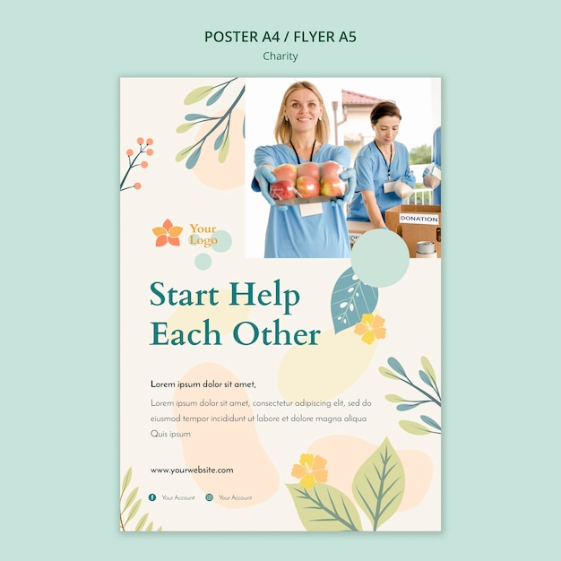 Charity flyer template Free Psd
