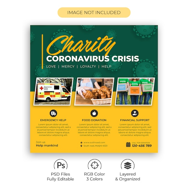 Квадратный листок благотворительного фонда или объявление в социальной сети для psd о кризисе коронавируса Premium Psd