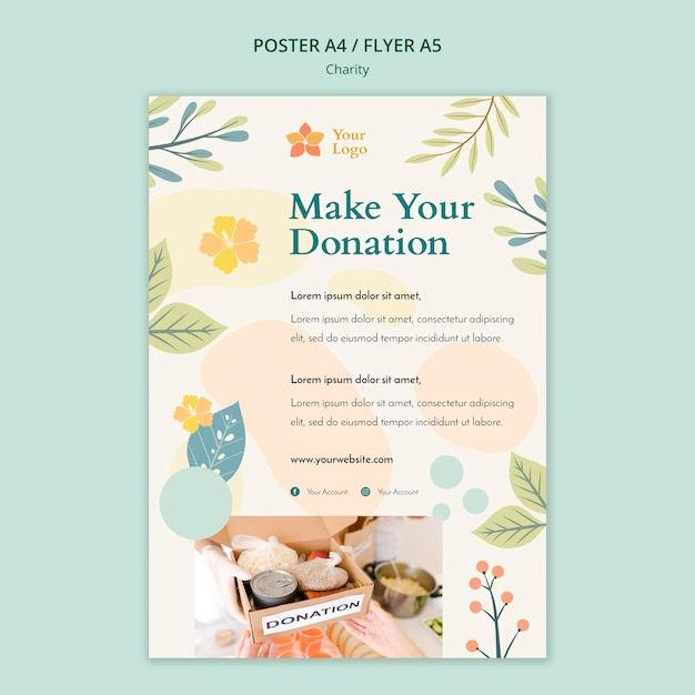 Charity poster design Free Psd