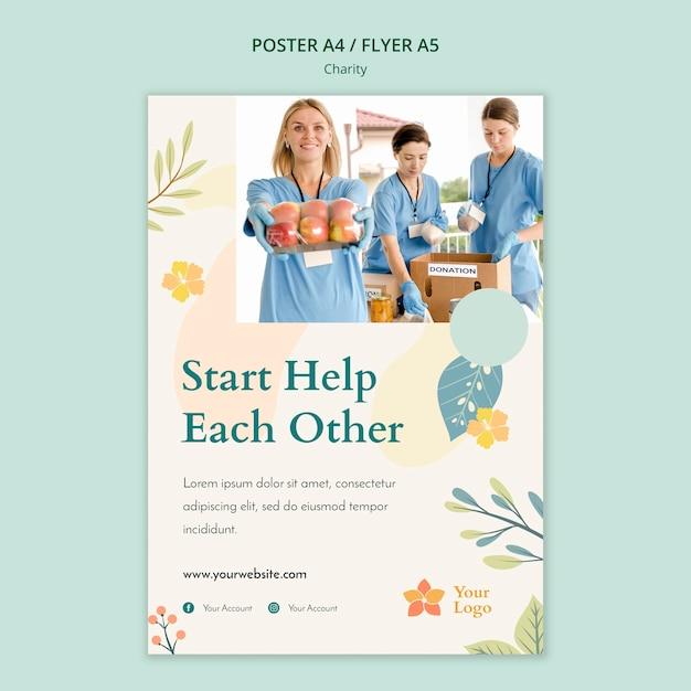 Дизайн шаблона благотворительного плаката Бесплатные Psd