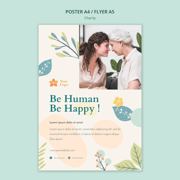 Charity poster template style Free Psd