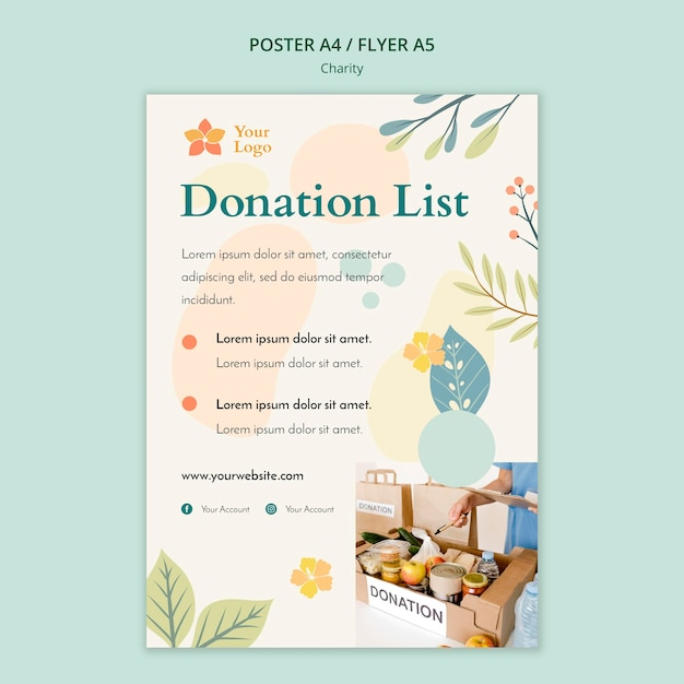 Charity poster template theme Free Psd