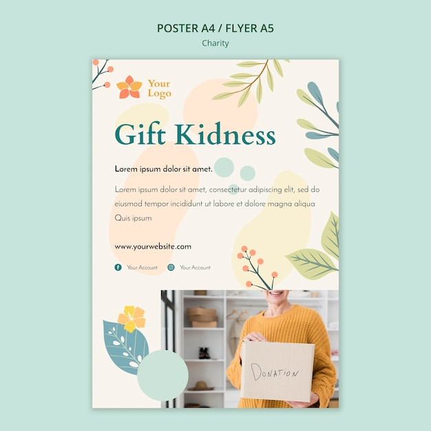 Charity poster template Free Psd