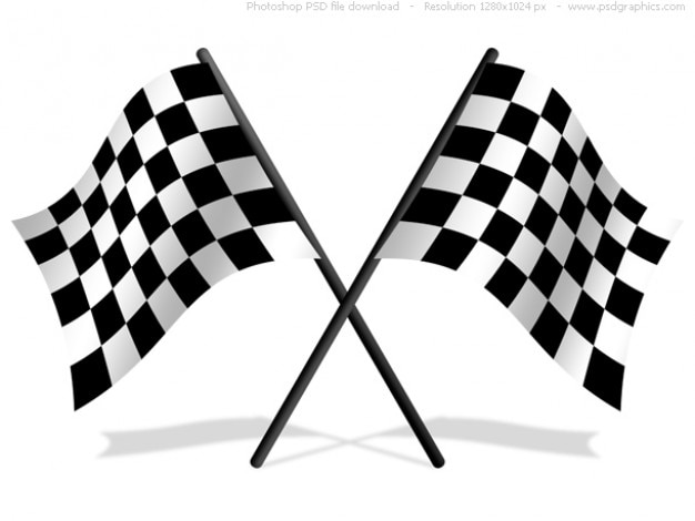 Checkered flags PSD icon Free Psd