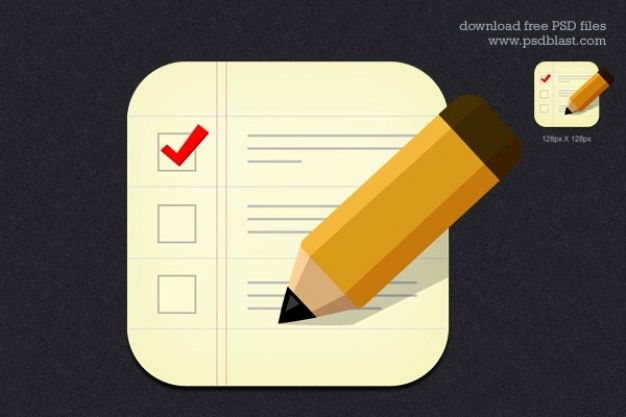 Checklist business icon with wooden pencil Free Psd