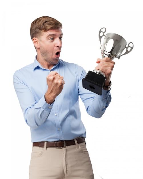 Веселый человек празднуют победу Бесплатные Psd