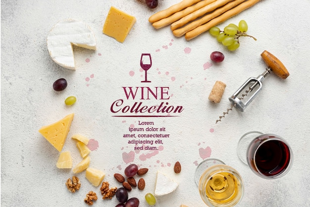 Cerchio a forma di vino e formaggio Psd Gratuite