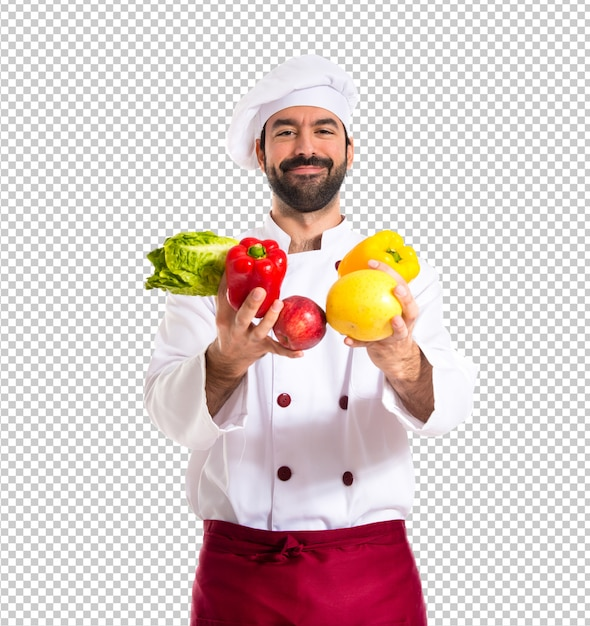 Chef holding vegetables Premium Psd