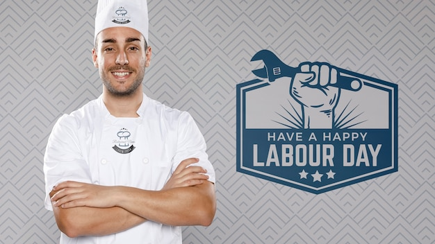 Chef with arms crossed labour day Free Psd