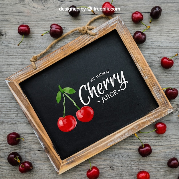 Cherry concept with slate Free Psd