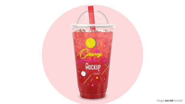 Cherry lemonade in plastic container Premium Psd