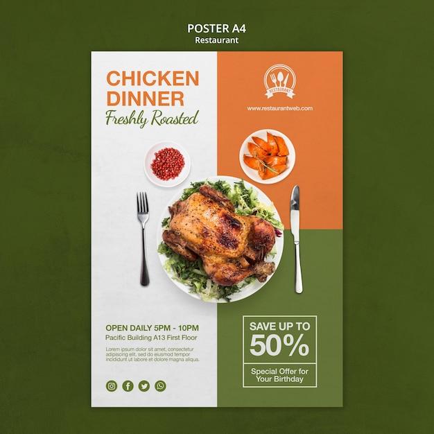 Chicken dinner restaurant poster print template Free Psd
