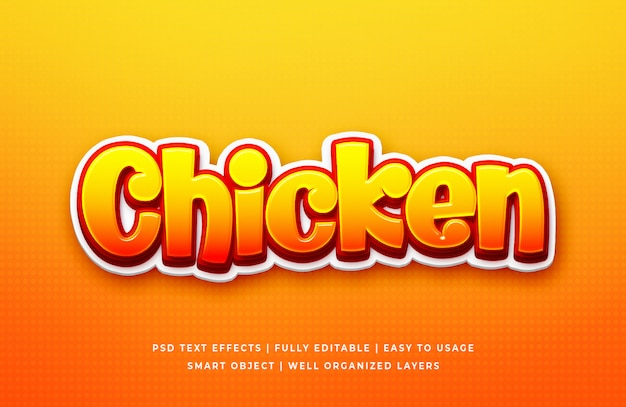 Chicken game 3d text style effect Premium Psd