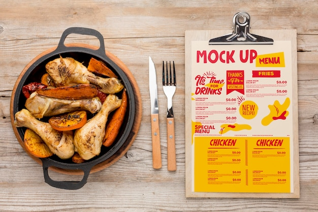 Chicken meal assortment mock-up Free Psd