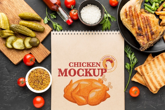 Chicken meal composition mock-up Free Psd