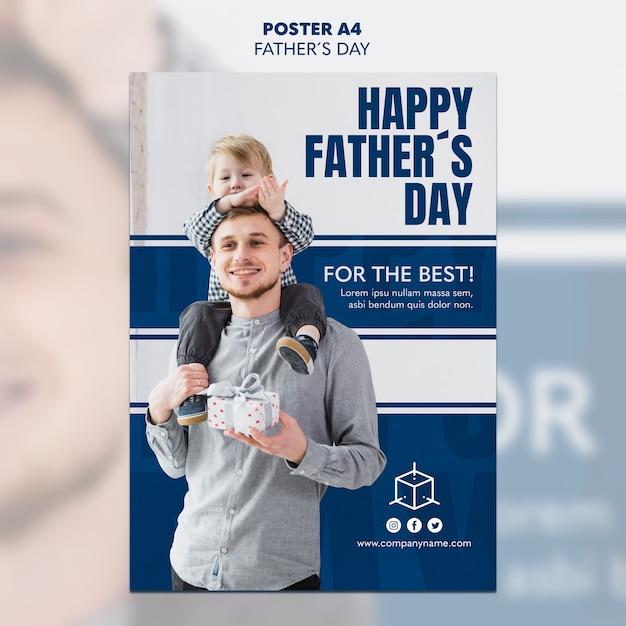 선물 아버지의 날 포스터 템플릿을 들고 아이 아빠 무료 PSD 파일